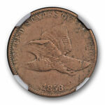 1858/7 OVERDATE WEAK FLYING EAGLE CENT 1C NGC VF 35 FINE TO XF