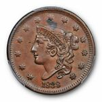 1838 1C CORONET HEAD CENT PCGS AU 58 BN ABOUT UNCIRCULATED US TYPE CERT5918