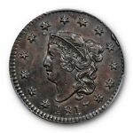1817 1C 13 STARS CORONET HEAD CENT PCGS AU 55 ABOUT UNCIRCULATED TOUGH
