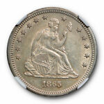 1865 NO MOTTO SEATED LIBERTY QUARTER 25C NGC AU 58 ABOUT UNCIRCULATED KEY DATE
