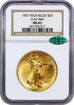 1907 HIGH RELIEF $20 NGC/CAC MS63  FLAT EDGE  AMERICA'S MOST BEAUTIFUL COIN