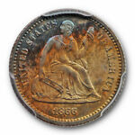 1866 H10C LIBERTY SEATED HALF DIME PCGS PR 64 PROOF TONED LOW MINTAGE