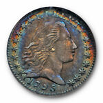 1795 FLOWING HAIR HALF DIME H10C NGC AU 50 ABOUT UNCIRCULATED TONED BEAUTY