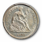1863 H10C SEATED LIBERTY HALF DIME PCGS MS 61 UNCIRCULATED KEY DATE MINT STATE