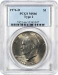 1976 D $1 PCGS MS66  TYPE 2  EISENHOWER DOLLAR