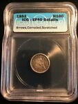 1853 WITH ARROWS SEATED LIBERTY HALF DIME 5 CENTS ICG GRADED EF40  TYPE COIN