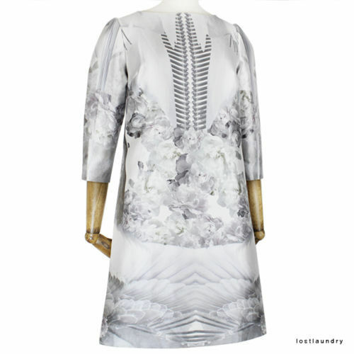 Prabal Gurung White Silver Grey Floral Feather Pattern Silk Blend Dress US4 UK8