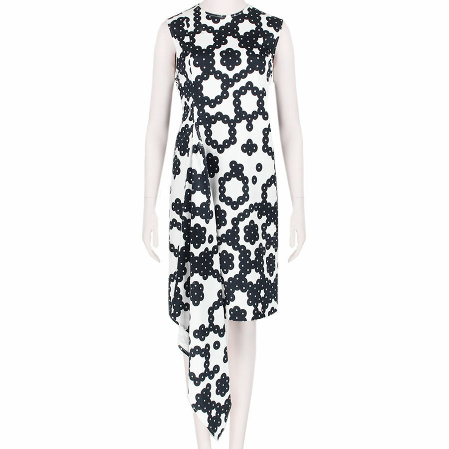 J W Anderson Black White Patterned Wrap Effect Sleeveless Dress UK10 IT42