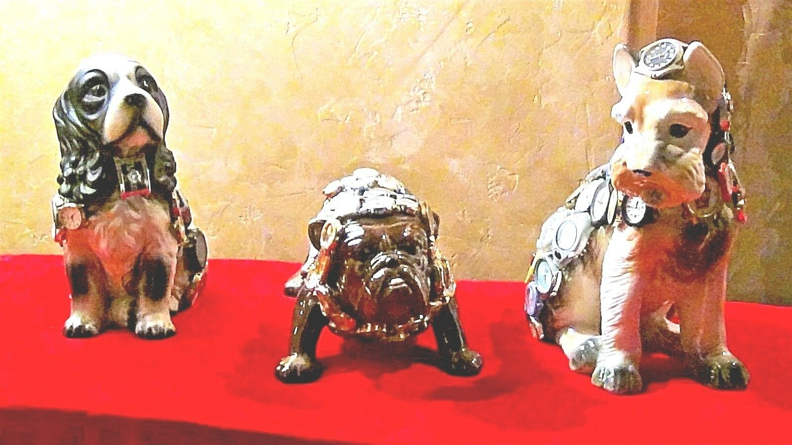 SET OF 3 UNIQUE PORCELAIN DOG FIGURES W/OVER 140 ORIGINAL WATCHES ATTACHED TO IT