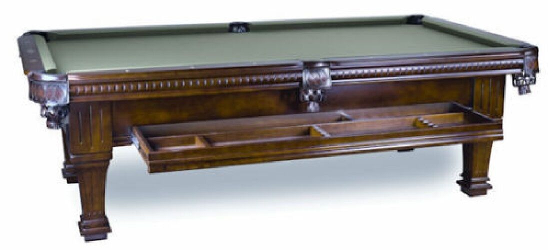8' Ramsey Slate Pool Table with Hidden Storage Drawer Antique Walnut Finish