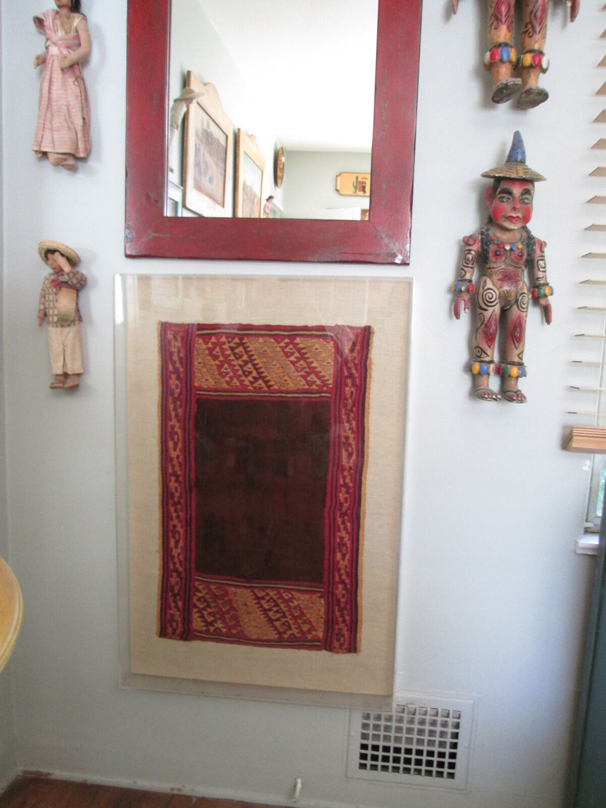Ancient Pre Columbian Peruvian Textile In Museum Frame