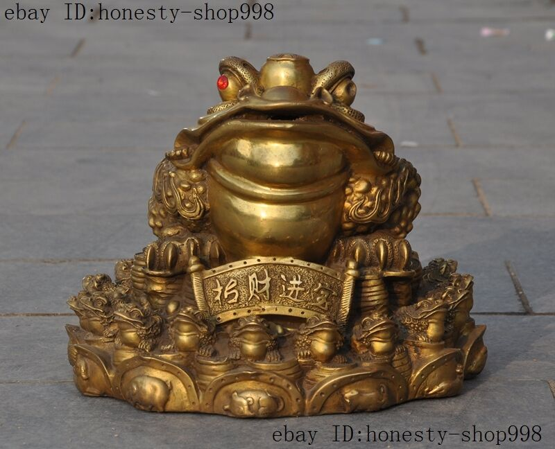 Chinese Fengshui Pure Brass wealth money Golden Toad spittor Bufo Animal statue