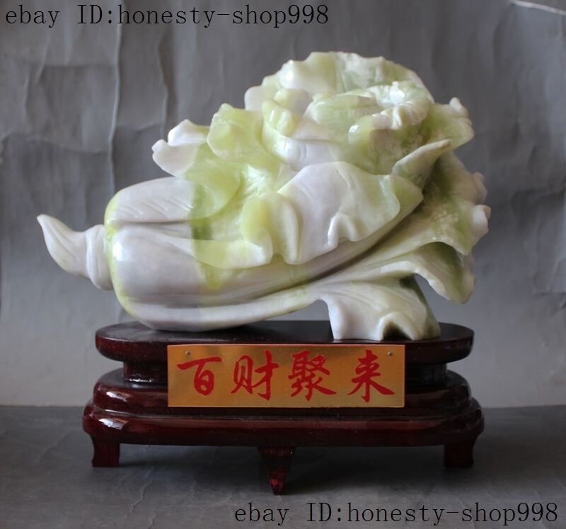 China natural Lantian Jade Carving Auspicious wealth Cabbage Baicai Decoration