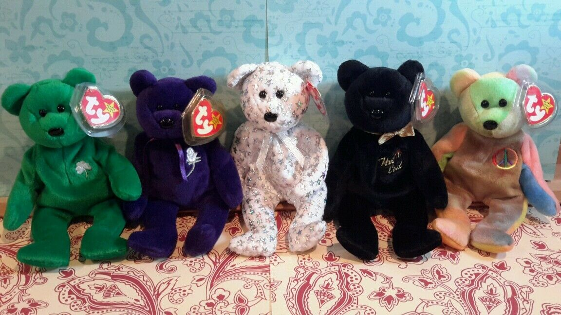 BEANIE BABIES - 5 OF THE RAREST BEARS  PRINCESS, PEACE, ERIN, END, AND BEGINNING