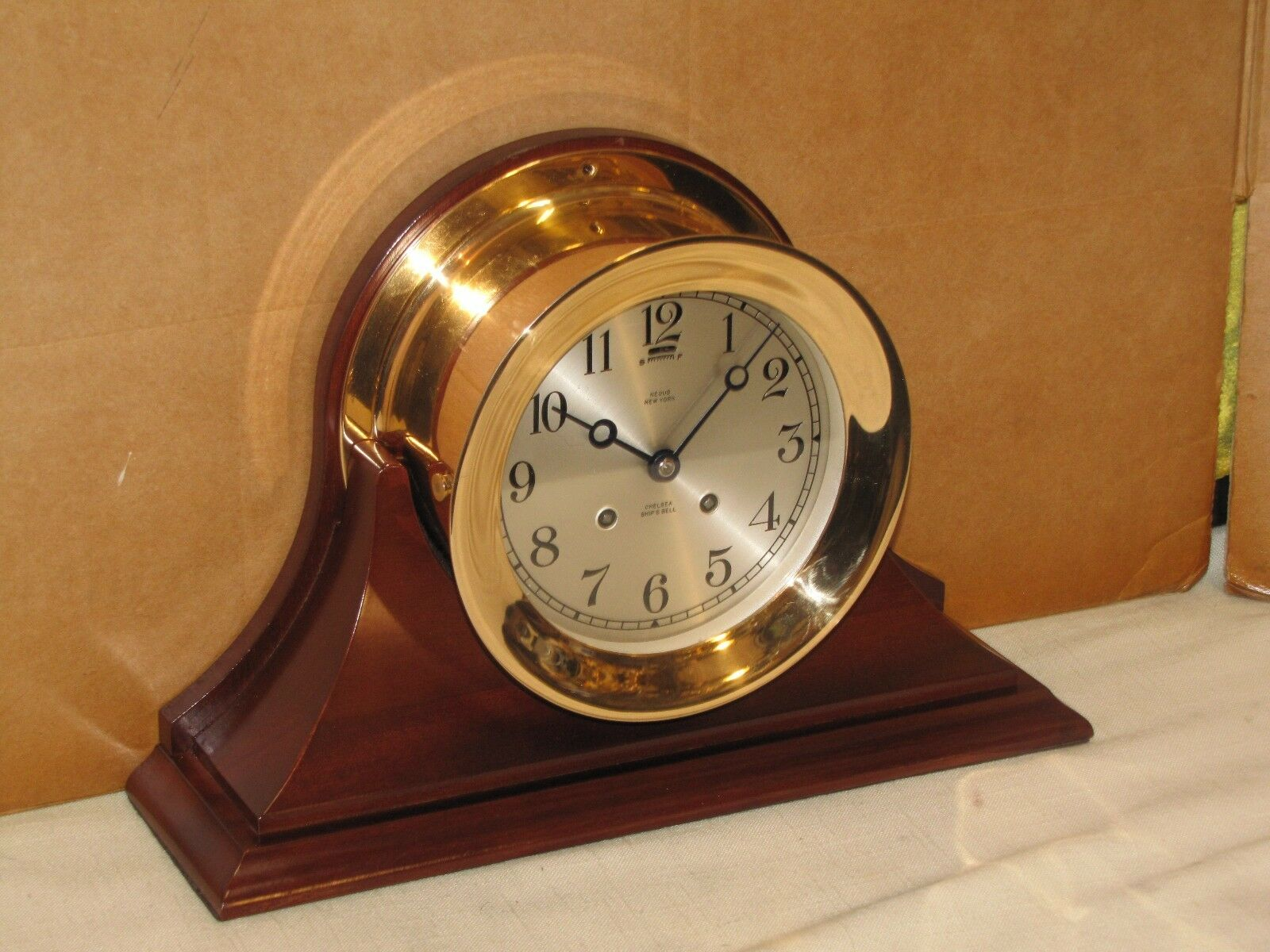 CHELSEA ANTIQUE SHIPS BELL CLOCK~6 IN DIAL~1921~RED BRASS~HINGED
