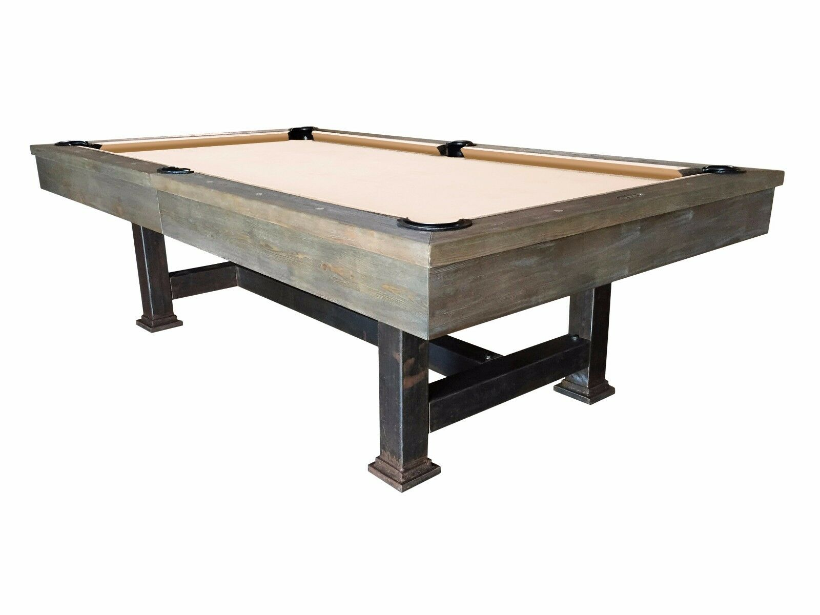 The Bodie - 8' Weathered Oak Slate Pool Table with Antiqued Steel Legs