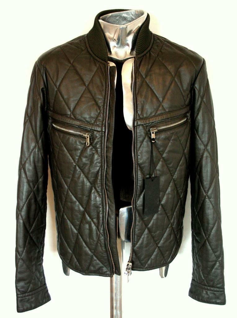 Diesel Black Gold LUVOLA Quilted Leather Jacket EU48 Medium RRP£895 padded Khaki