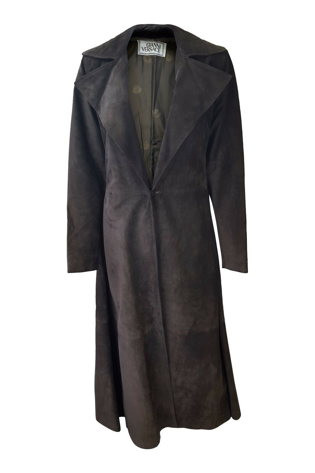 *VERSACE* GIANNI VERSACE VINTAGE BROWN LONG LEATHER COAT (40)