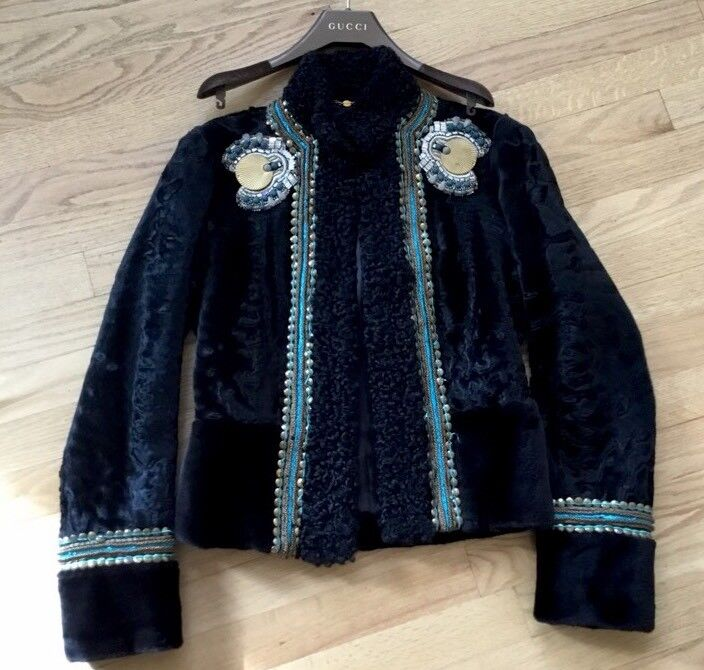 EXQUISITE GLAMOR$19750. 00. GUCCI ASTRAKHAN  ABSOLUTELY STUNNING JACKET SIZE 42.