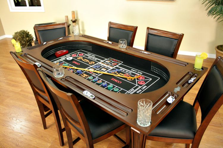 Burlington Game Table 3-in-1 Poker Tables Suede w/ 6 Chairs FREE Shipping