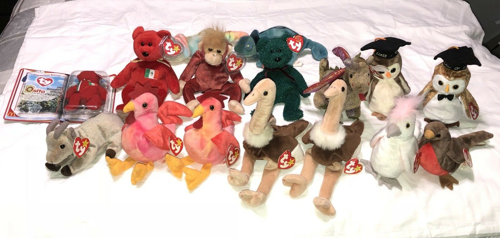 Ty Original Beanie Baby Babies Lot of 16 Many Errors Collectible Retired Rare