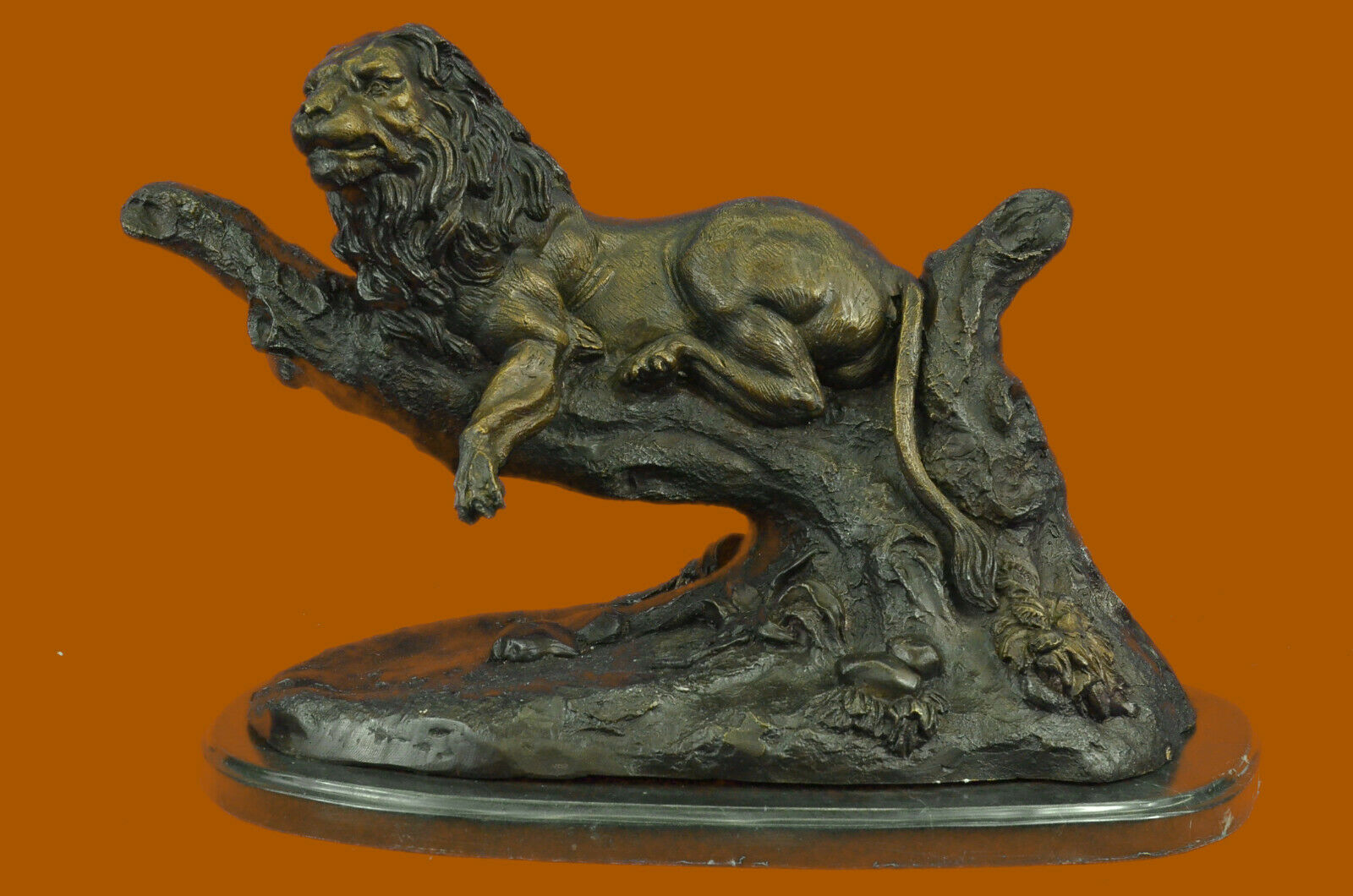 SUPER DEAL LARGE SIGNED MOIGNIEZ LION RESTING BRONZE SCULPTURE MARBLE FIGURE