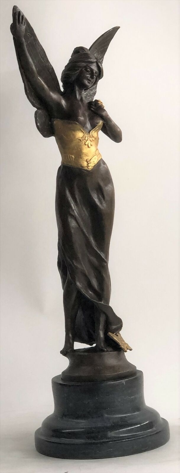 SUPER DEAL Large Charming Angel Standing Bronze Marble Sculpture Deco Ef