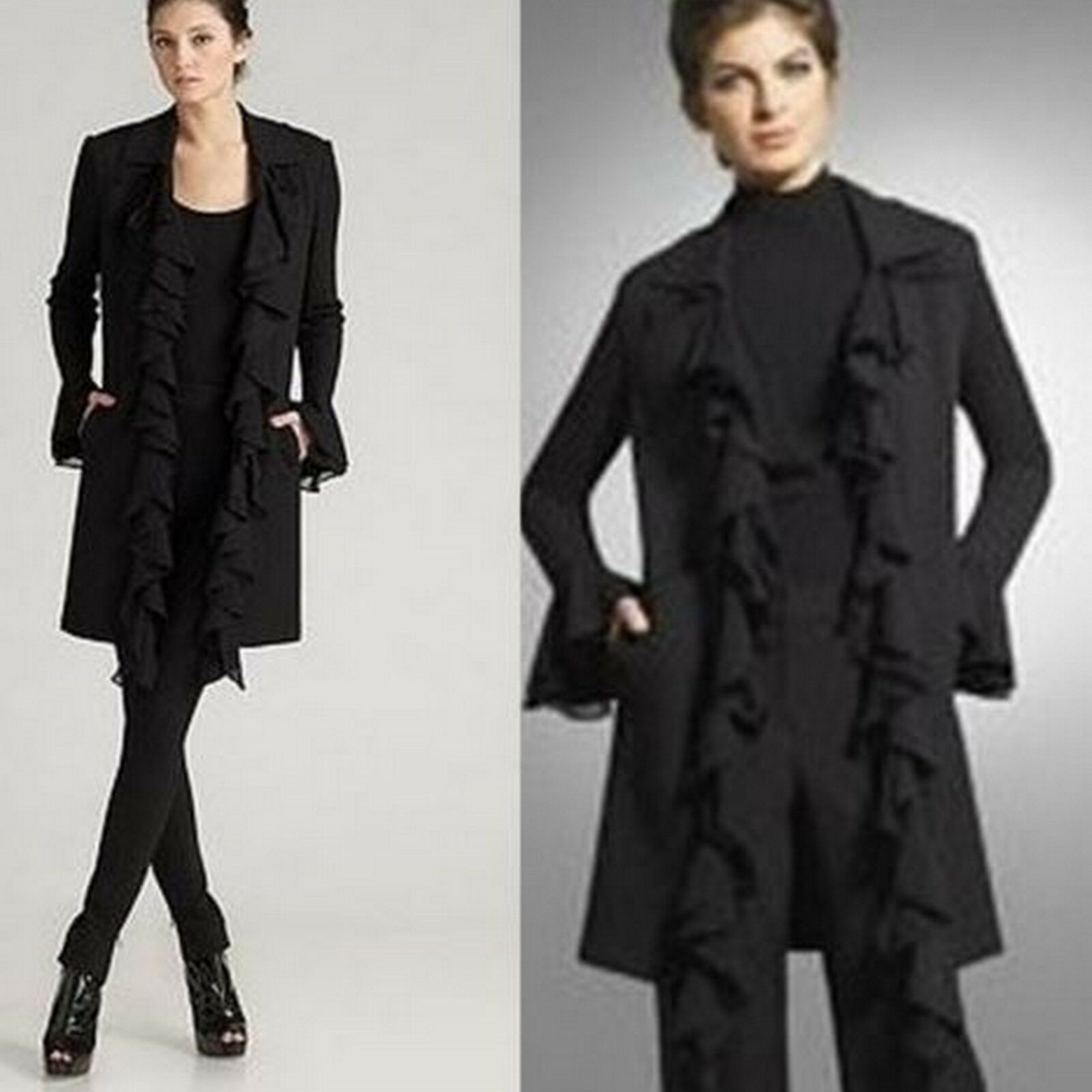 St. John Black Caviar Chevron Ruffle Long Jacket 8 ,10