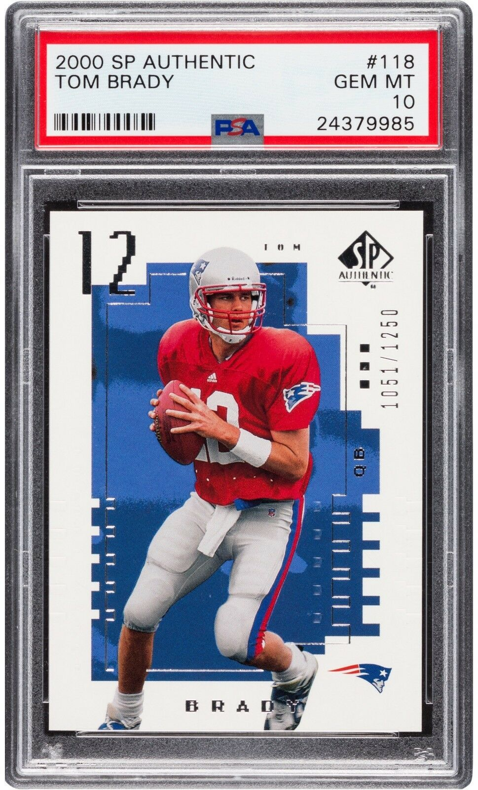 2000 SP Authentic TOM BRADY Rookie Patriots PSA 10