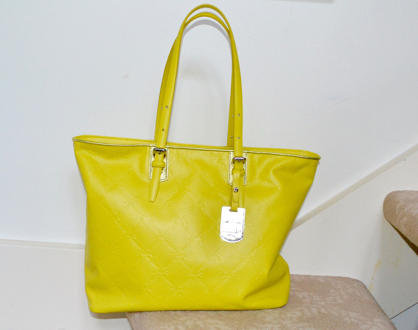 New $675 Authentic Longchamp LM Cuir Lemon Zip Shoulder Tote Bag Medium