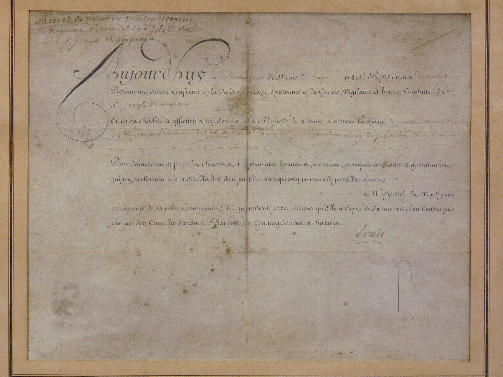 1780 :License of Petty officer regiment the island of CORSICA;the King to Joseph