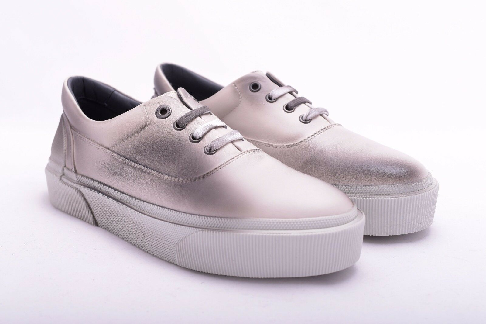 LANVIN 950$ Authentic New Ivory Grey Spray Paint Leather Oxford Sneakers