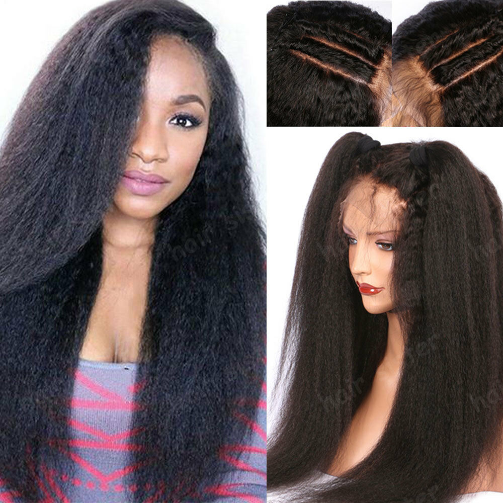 Peruvian 360 Lace Frontal Human Hair Full Wig Kinky Straight Pre Plucked Black s
