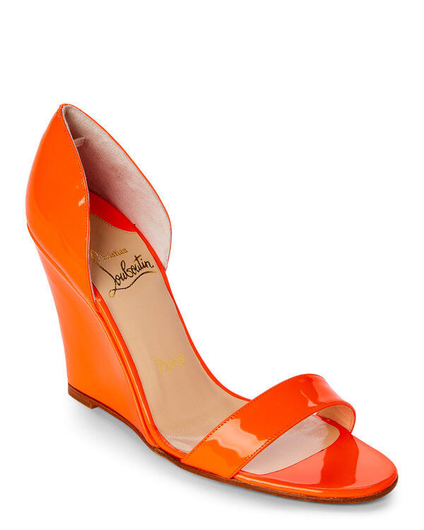 100% AUTHENTIC NEW WOMEN LOUBOUTIN PASSMULE ORANGE WEDGE/ESPADRILLE US 10.5
