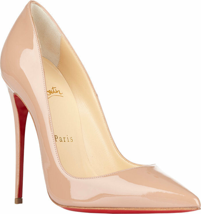 100% AUTHENTIC NEW WOMEN LOUBOUTIN SO KATE NUDE PATENT HEELS/PUMPS US 10