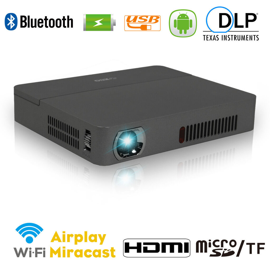 Wifi Android HD DLP Mini Pico Projector 3D Home Theater TV Bluetooth USB 12000:1