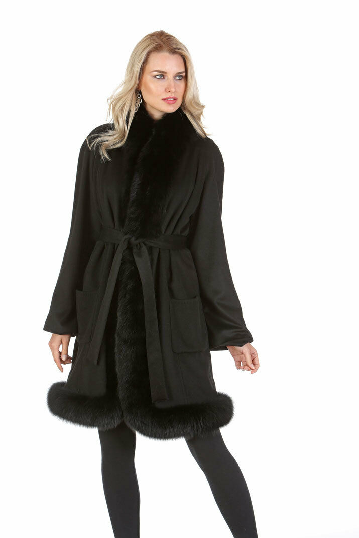 Real Fox Fur Trim Cashmere Coat for Women Black - Tulip Hem