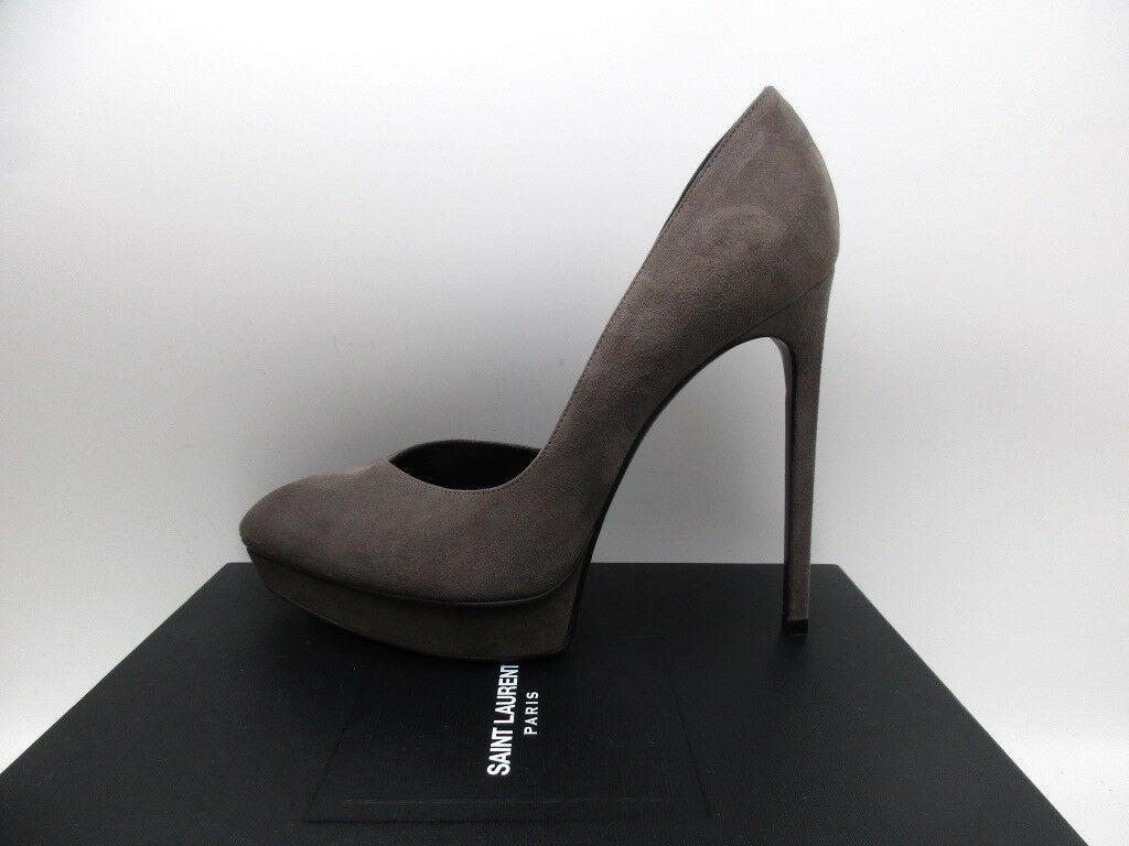 Saint Laurent Janis 105 D'Orsay Suede Pumps Platforms Road Gray 40 10