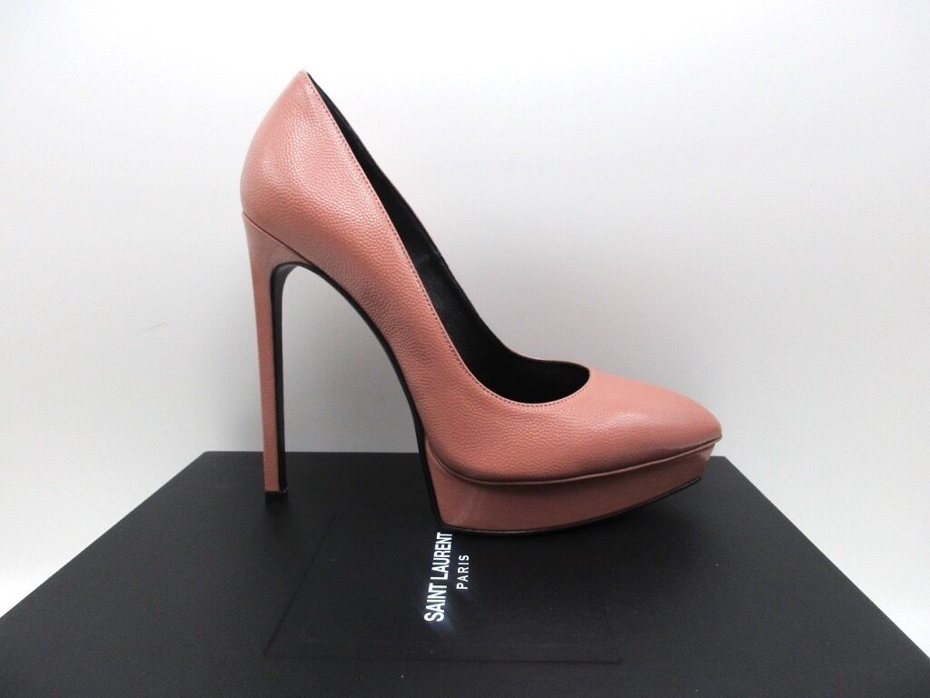 YSL Yves Saint Laurent Vieux Rose Janis 105 Pumps Platforms 37.5