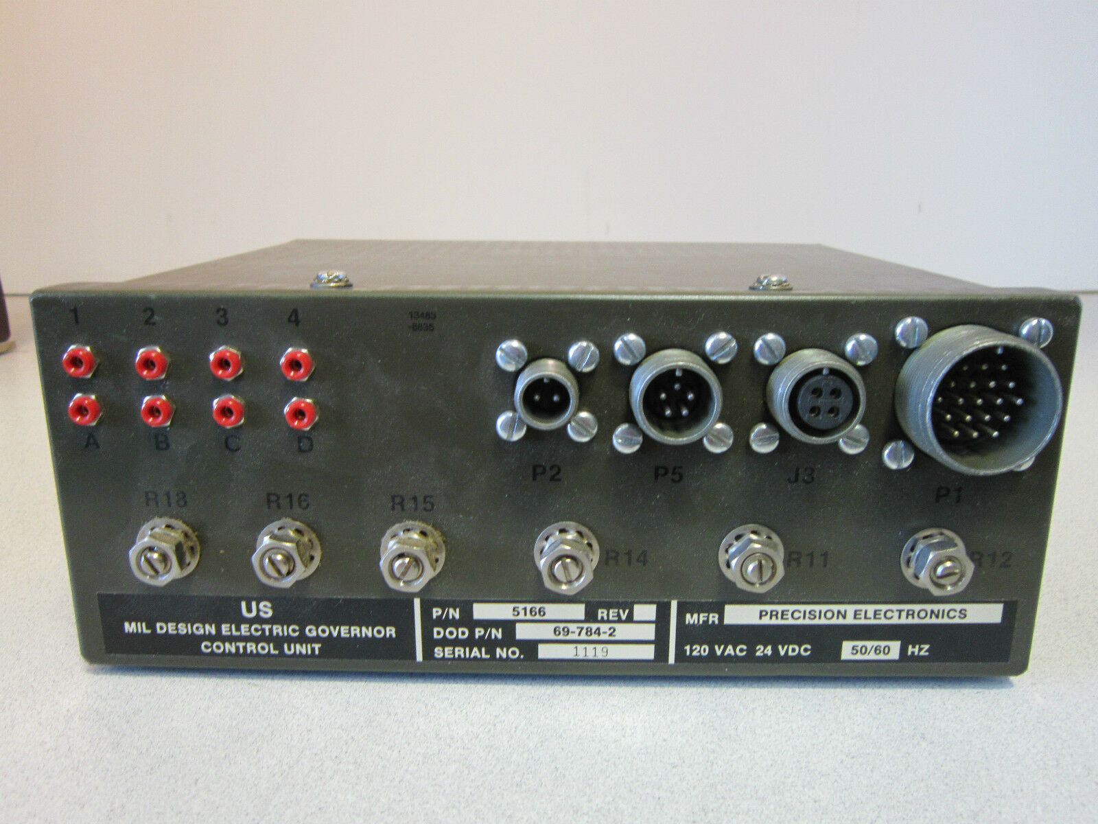 Governor Control Unit 5166/ DOD PN 69-784-2 120VAC/ 24 VDC/ 50-60hz Precision