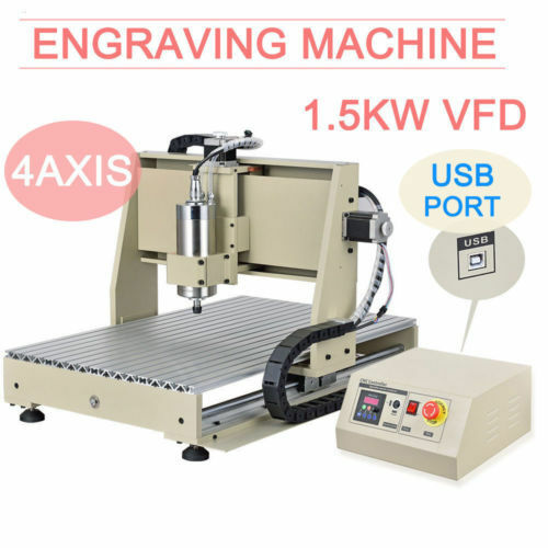 USB! 4AXIS CNC Router 6040 Engraver Engraving Milling Drilling Machine 1500W USA