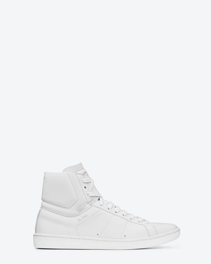 YSL Saint Laurent Womens SL/01H 05 White High Top Sneakers Flats 38 8