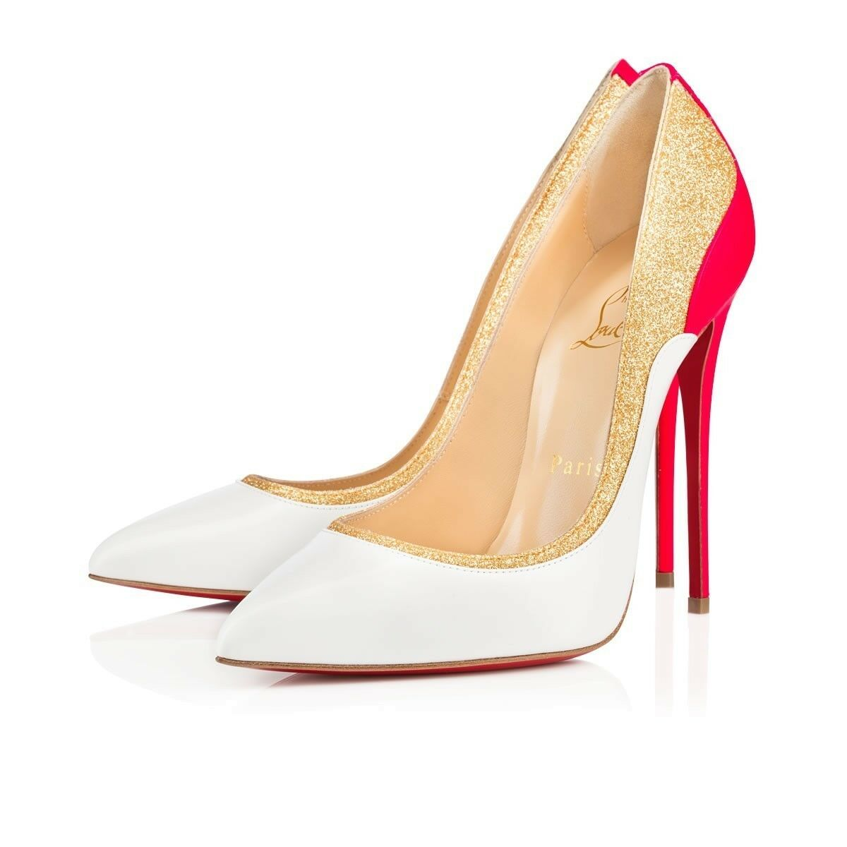 100% AUTH NEW WOMEN LOUBOUTIN TUCSICK 100 JAZZ CALF/GLITTER PUMPS/HEELS US 10