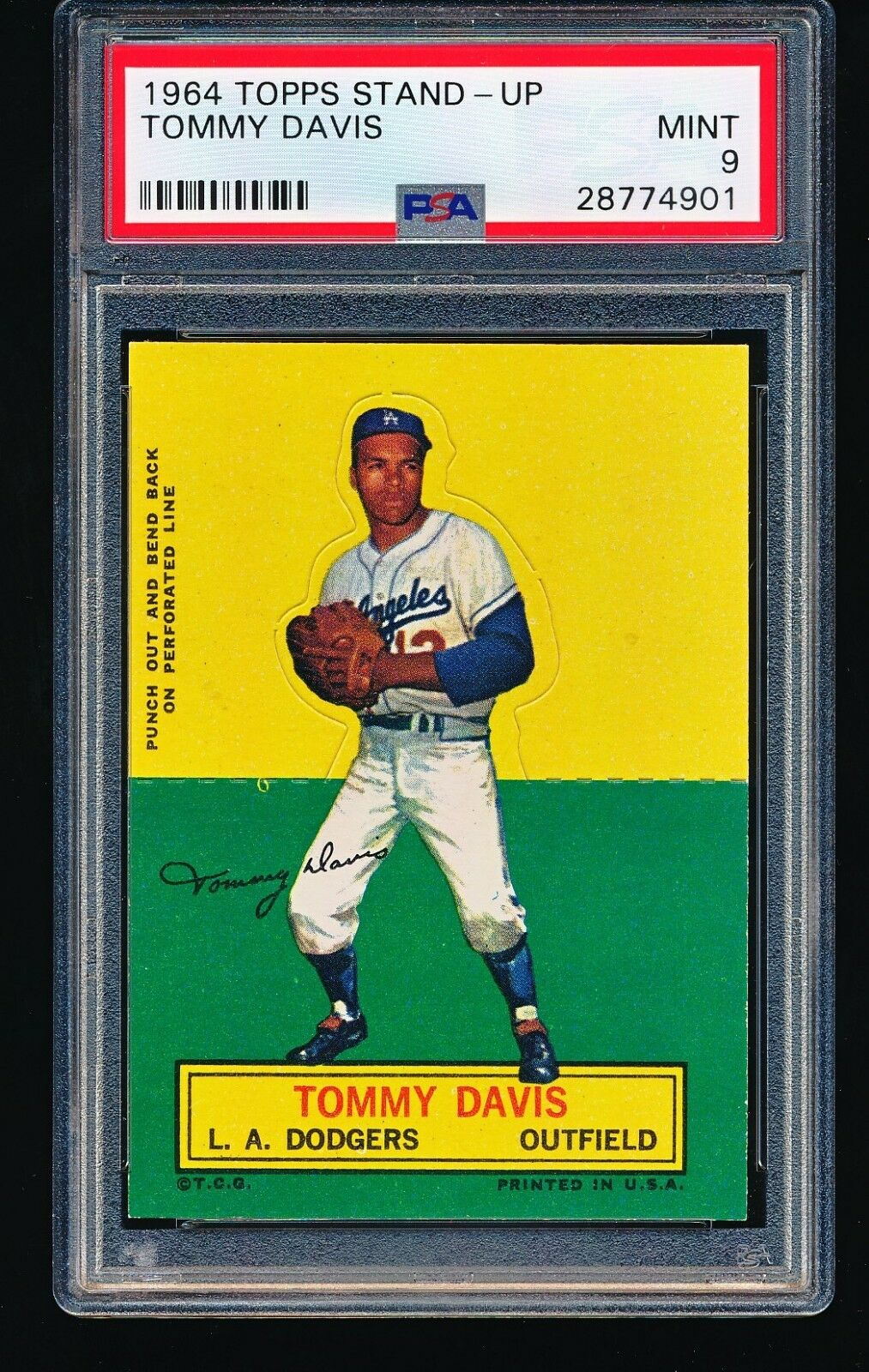 1964 Topps Stand-Up TOMMY DAVIS PSA 9 - 1/2 - Short Print