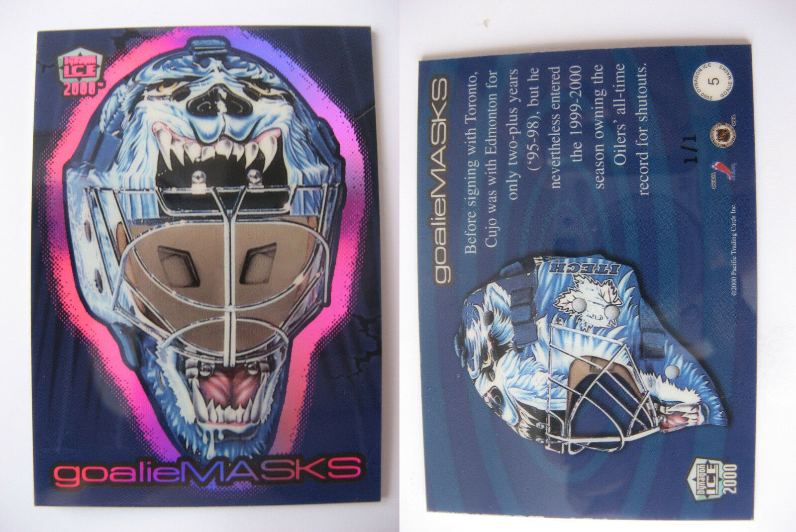 1999-00 Pacific Dynagon #5 Curtis Joseph 1/1 SPECTRUM goalie masks 1 of 1 RARE