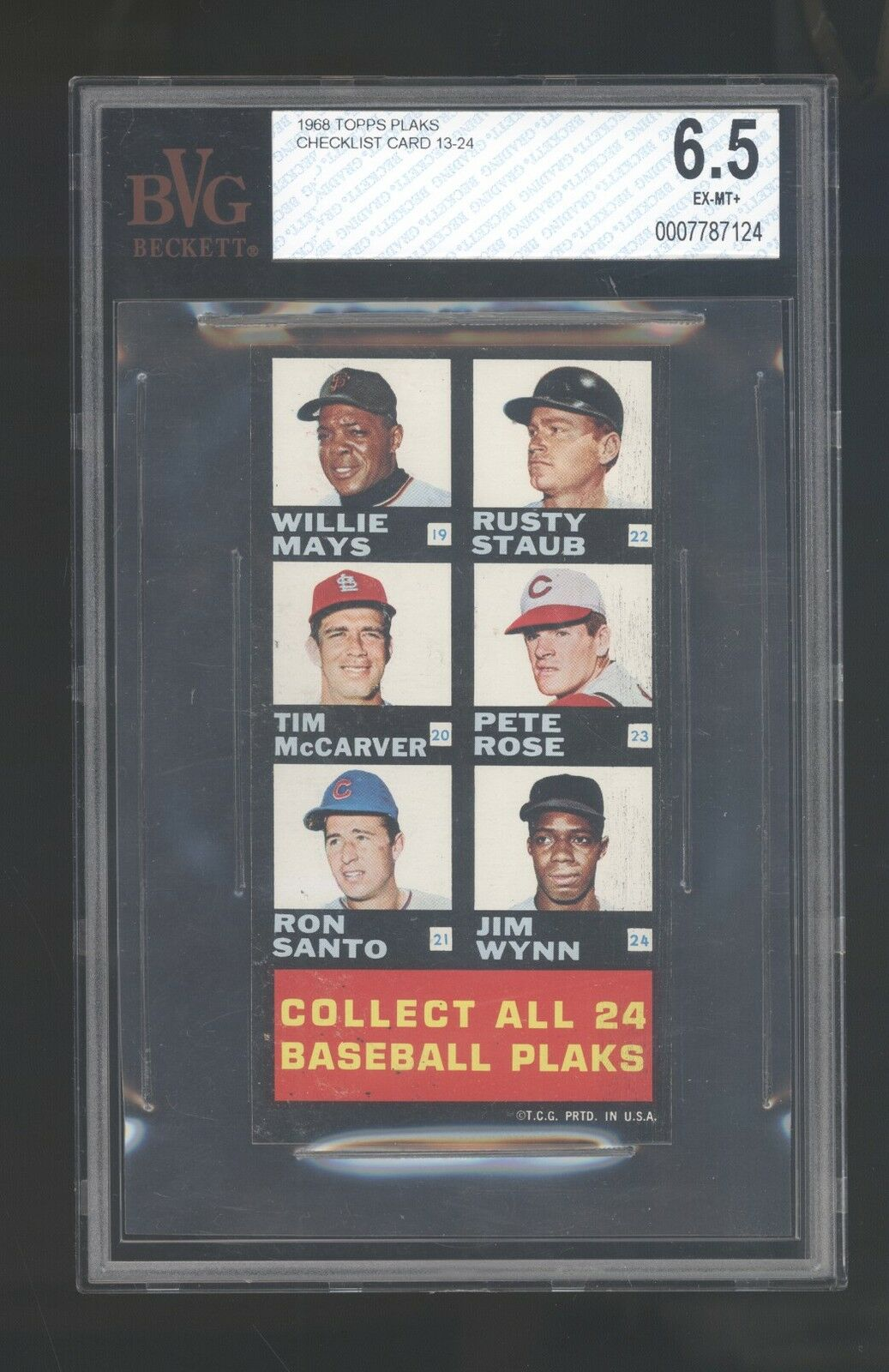 BVG 6.5 1968 Topps Plaks Checklist #2 13-24 Mays Aaron Rose Clemente Drysdale