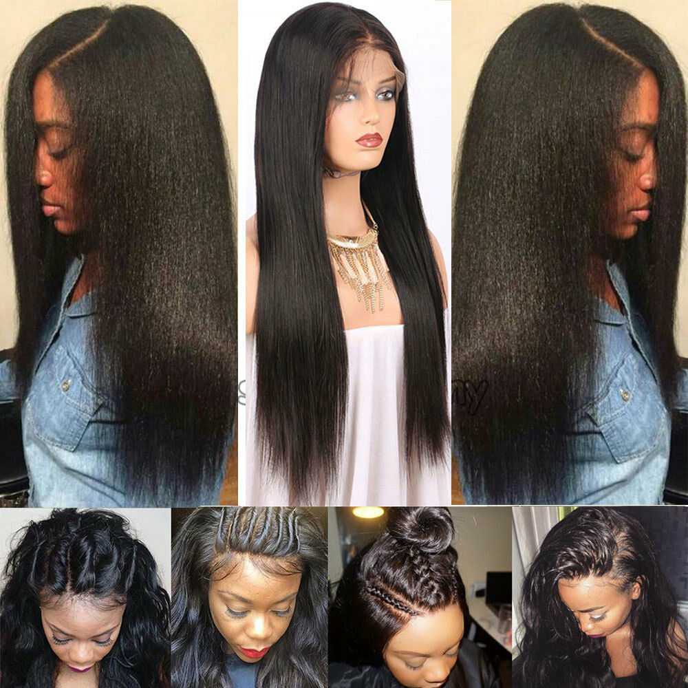 Pre Plucked Malaysian Virgin Human Hair Lace Front Wig Yaki Straight Full Wigs s