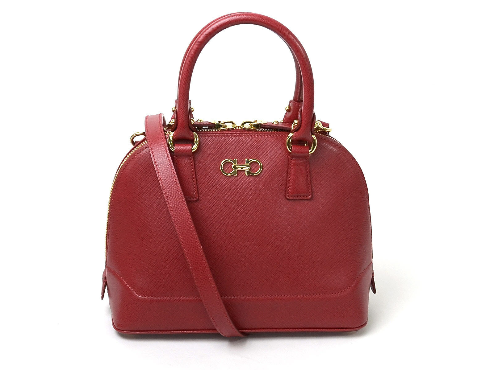 Auth Salvatore Ferragamo Gancini 2-way Handbag Shoulder Bag Red Leather - 93653