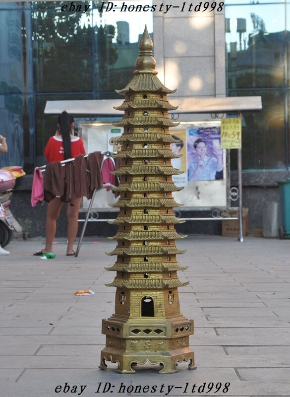 Huge China Religion Temple Brass 13 floor Wenchang Tower stupa Pagoda sculpture