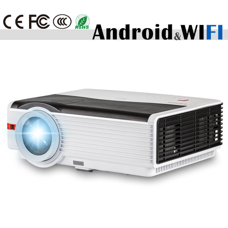 Android Wifi LCD Home Theater Projector 1080p Wireless Movie Game HDMI USB VGA